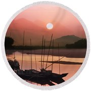 sunset at Mae Khong river Round Beach Towel