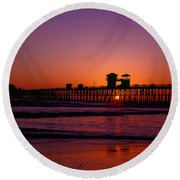 Sunset At Oceanside Pier Round Beach Towel