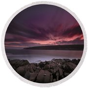 Sunset At Otter Point Round Beach Towel