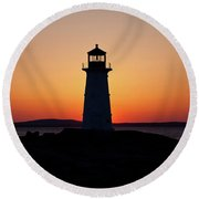 Sunset At Peggy's Cove Round Beach Towel