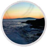 Sunset At Schoodic Round Beach Towel