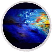 Sunset At Sea By Ted Jec. Round Beach Towel