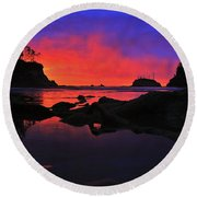 Sunset At Sunset Bay Round Beach Towel