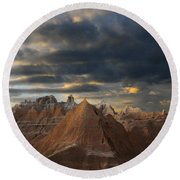 Sunset At The Badlands Round Beach Towel