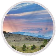 Sunset At The Colorado High Park Wildfire  Round Beach Towel