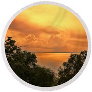 Sunset At The Esplanade Round Beach Towel