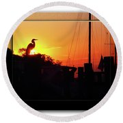 Sunset At The Granary Round Beach Towel