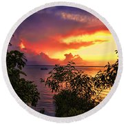 Sunset At The Top-end V2 Round Beach Towel