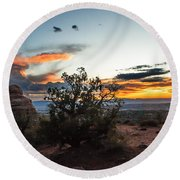 Sunset At Turrent Arch Round Beach Towel