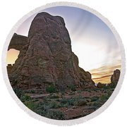 Sunset At Turret Arch Round Beach Towel