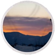 Sunset At White Sands Round Beach Towel