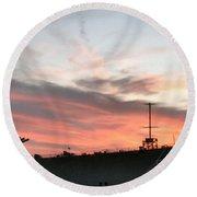 Sunset Battleship Round Beach Towel