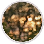 Sunset Bokeh  Round Beach Towel
