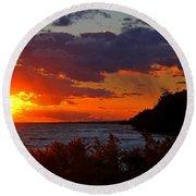 Sunset By The Beach Round Beach Towel