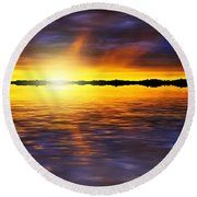 Sunset By The River Round Beach Towel by Svetlana Sewell