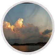 Sunset Clouds Over The Bay Round Beach Towel