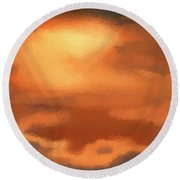 Sunset Clouds Round Beach Towel by Pixel Chimp