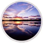 Sunset, Dinish Island Kenmare Bay Round Beach Towel
