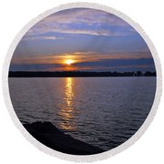 Sunset Egg Harbor Round Beach Towel