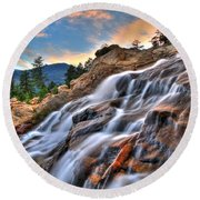 Sunset Falls Landing Round Beach Towel