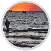 Sunset Fisherman Round Beach Towel