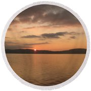 Sunset From The Train Round Beach Towel