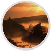 Sunset, Glendalough Glendalough, Co Round Beach Towel