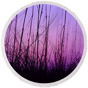 Sunset Grasses Round Beach Towel