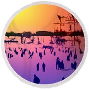 Sunset In Central Park Round Beach Towel