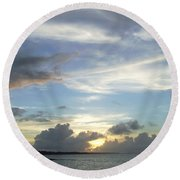 Sunset In Majuro Round Beach Towel
