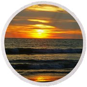 Sunset In Mexico Round Beach Towel