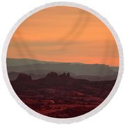 Sunset In Moab Round Beach Towel