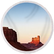 Sunset In The Valley Round Beach Towel by Dave Bowman