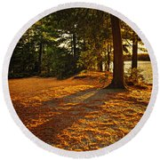 Sunset In Woods At Lake Shore Round Beach Towel