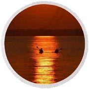 Sunset Kayakers Round Beach Towel