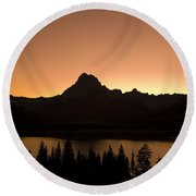 Sunset Swift Current Lake Glacier National Park Round Beach Towel