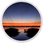 Sunset Moon Venus Round Beach Towel