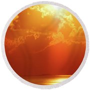 Sunset Near Venice La Round Beach Towel