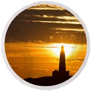Sunset Obelisk Round Beach Towel