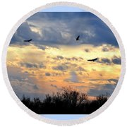 Sunset Of The Hawks Round Beach Towel