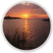Sunset On Eagle Harbor Round Beach Towel