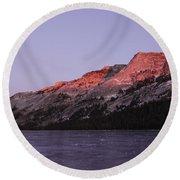 Sunset On Frozen Tenaya Lake Round Beach Towel