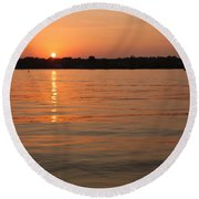 Sunset On Geist Reservoir In Lawrence In Round Beach Towel