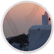 Sunset On Greek Ios Round Beach Towel