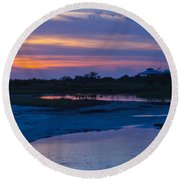 Sunset On Honeymoon Island Round Beach Towel