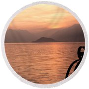 Sunset On Lake Como Round Beach Towel