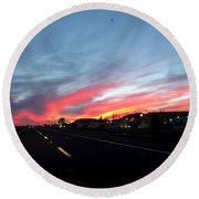 Sunset On Route 66 Round Beach Towel
