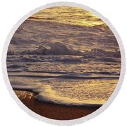 Sunset On Small Wave Round Beach Towel
