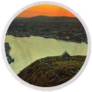 Sunset On St. John's Harbour Round Beach Towel