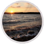 Sunset On The Bay Of Fundy Round Beach Towel